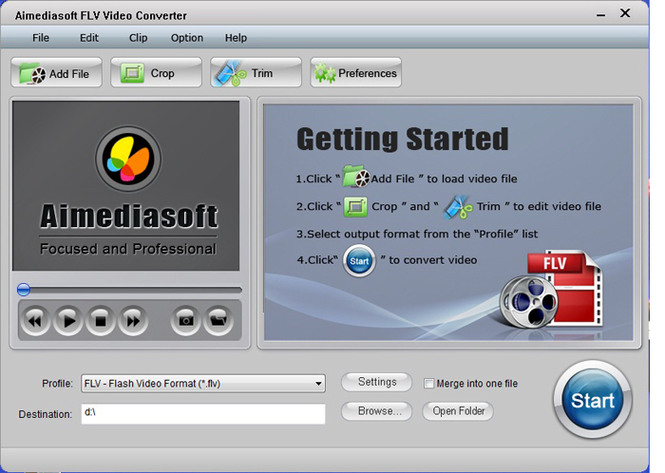 Aimediasoft FLV Video Converter Screenshot