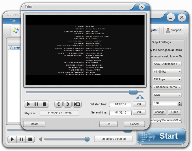 Eviosoft Video to Audio Converter Screenshot
