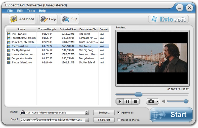 Eviosoft AVI Converter Screenshot 1