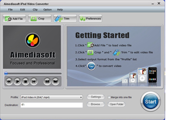 Aimediasoft iPod Video Converter Screenshot