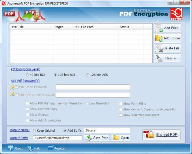 Pdf 128 bit Encryption Password Lock Screenshot 3