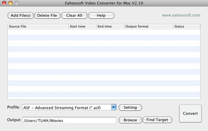 Eahoosoft Video Converter for Mac Screenshot