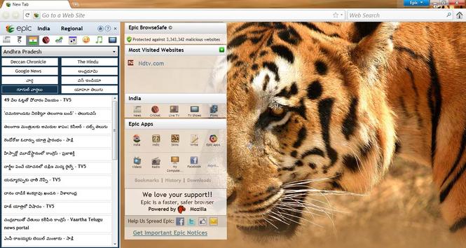 Epic Browser Screenshot 1