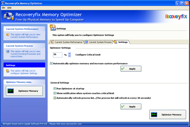Memory Optimizer and Cleaner Screenshot