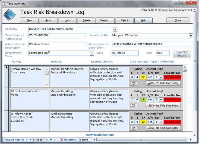 TIRA - Task Inventory & Risk Assessment Screenshot