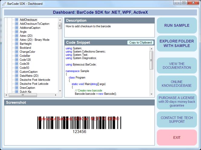 Bytescout BarCode Generator SDK Screenshot