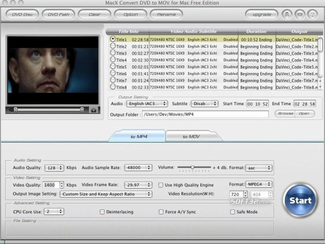 MacX Convert DVD to MOV for Mac Free Screenshot 2