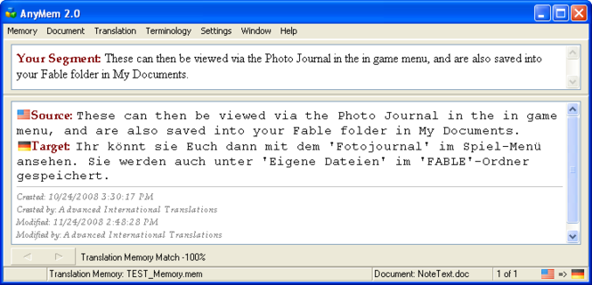 AnyMem: Translation Memory Software Screenshot