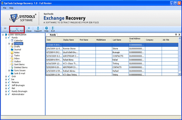 MS Exchange EDB to PST Screenshot 1