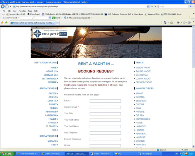 Rent a yacht Booking SW Screenshot