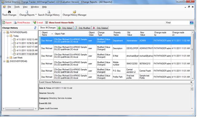 Active Directory Change Tracker Screenshot