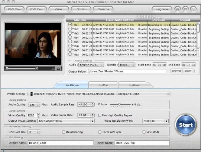 MacX Free DVD to iPhone4 Converter Screenshot 2