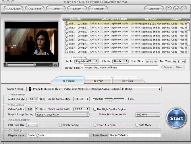 MacX Free DVD to iPhone4 Converter Screenshot