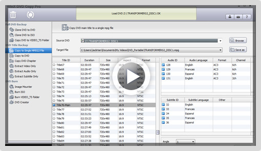 WinX DVD Copy Pro Screenshot 2