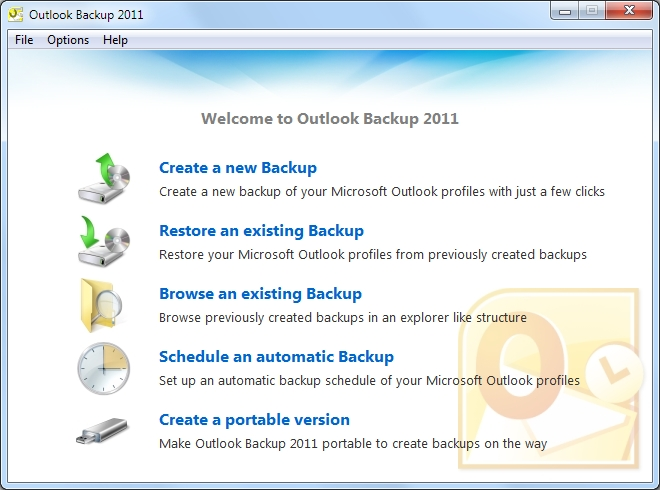 Outlook Backup 2011 Screenshot