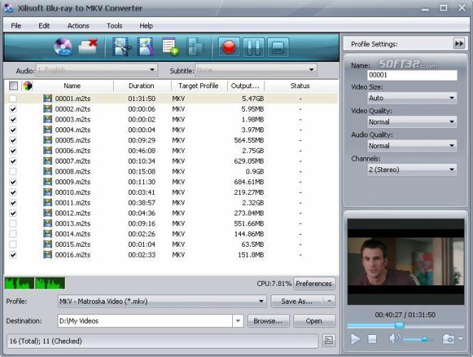 Xilisoft Blu-ray to MKV Converter Screenshot 2