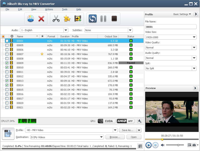 Xilisoft Blu-ray to MKV Converter Screenshot 1