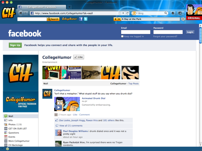 CollegeHumor IE Browser Them Screenshot 1