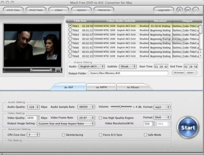 MacX Free DVD to AVI Converter for Mac Screenshot 3