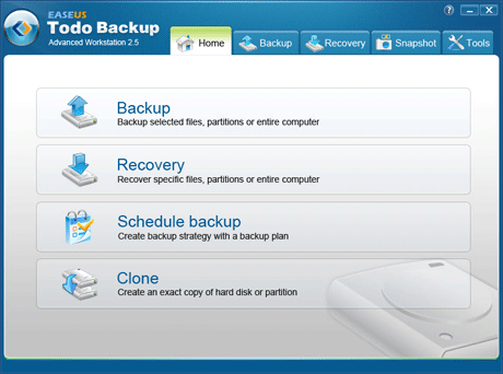 EASEUS Todo Backup Advanced Workstation Screenshot