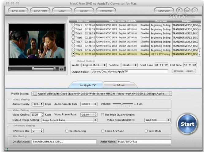 MacX Free DVD to Apple TV Converter Mac Screenshot 2