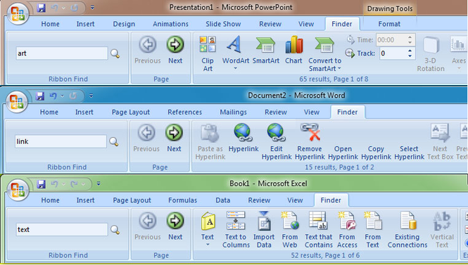 Ribbon Finder for Office Home and Student 2007 Screenshot