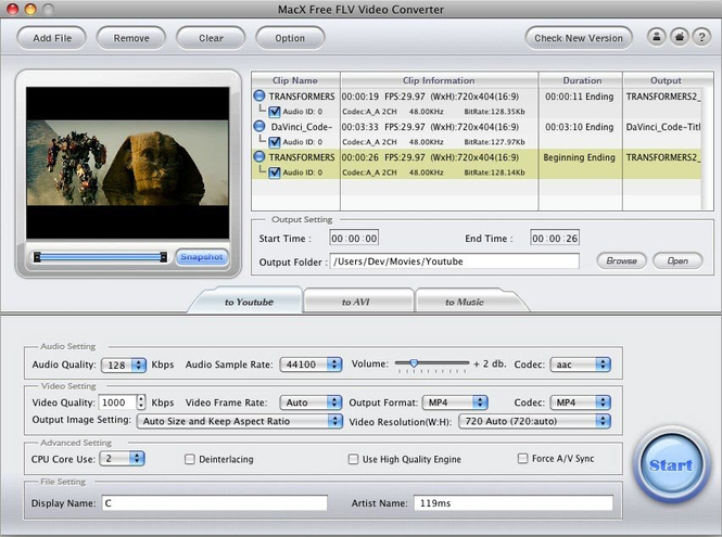 MacX Free FLV Video Converter Screenshot 1