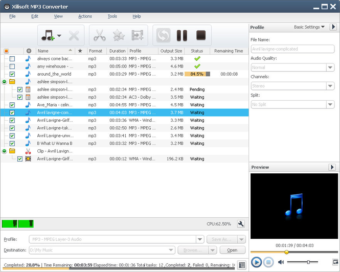 Xilisoft MP3 Converter Screenshot 1