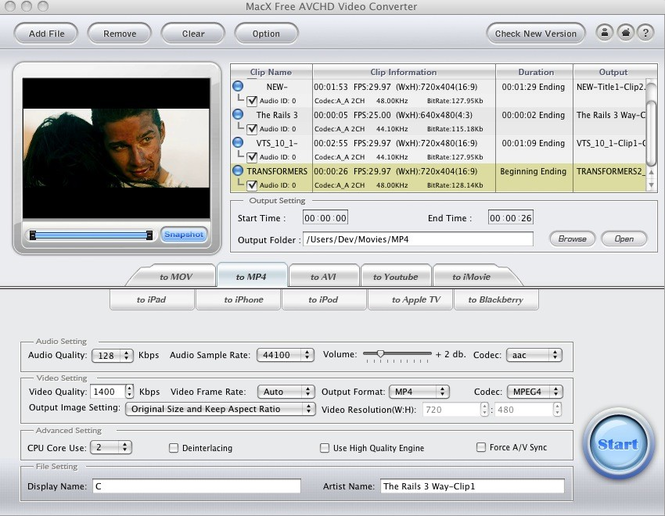 MacX Free AVCHD Video Converter Screenshot