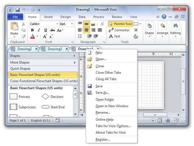 Tabs for Visio Screenshot 1