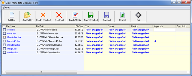 Excel Metadata Changer Screenshot 1