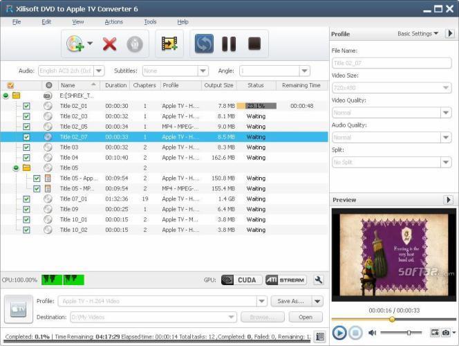 Xilisoft DVD to Apple TV Converter Screenshot 2