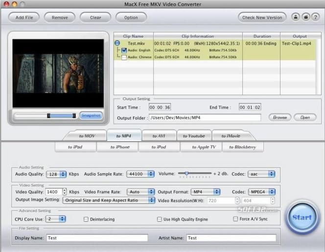 MacX Free MKV Video Converter Screenshot 2