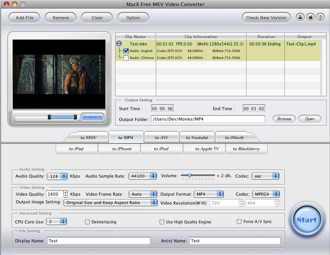 MacX Free MKV Video Converter Screenshot 1