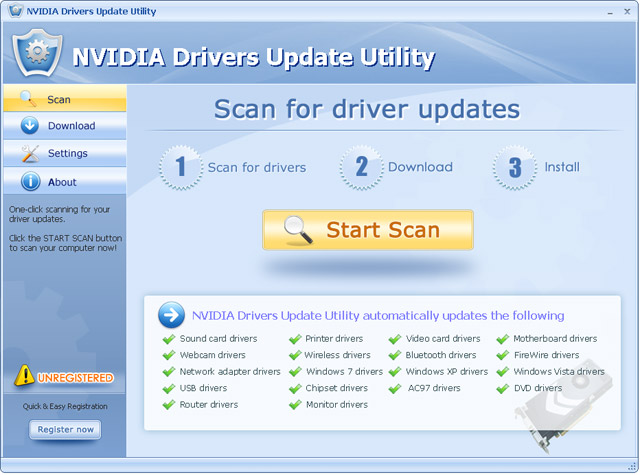 NVIDIA Drivers Update Utility For Windows 7 Screenshot