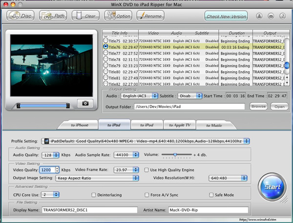 WinX DVD to iPad Ripper for Mac Screenshot