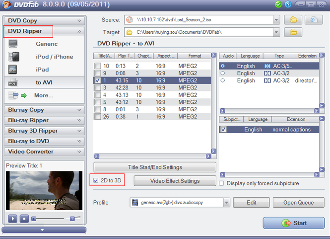 DVDFab 2D to 3D Converter Screenshot 1