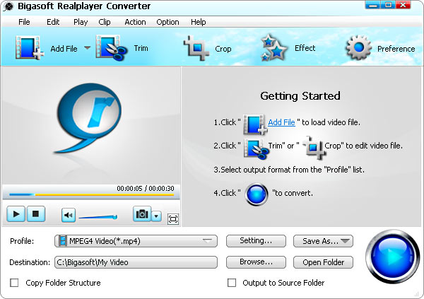 Bigasoft RealPlayer Converter Screenshot 1