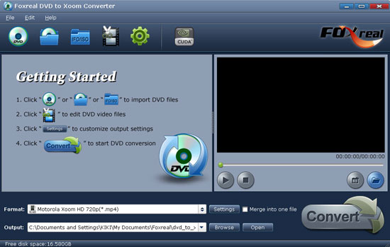 Foxreal DVD to Xoom Converter Screenshot 1