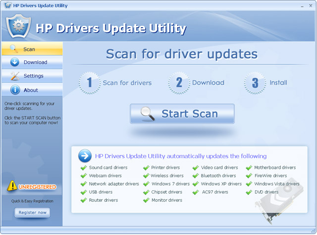HP Drivers Update Utility For Windows 7 Screenshot