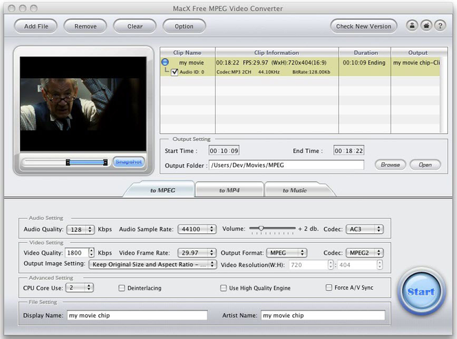 MacX Free MPEG Video Converter for Mac Screenshot 1