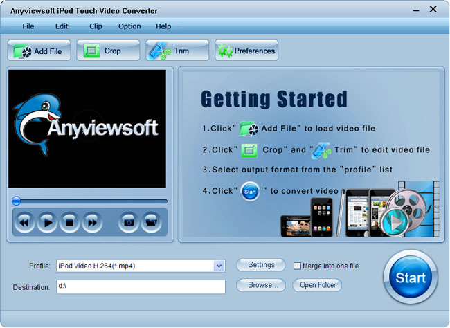 Anyviewsoft iPod Touch Video Converter Screenshot 1