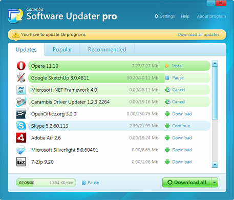 Carambis Software Updater Pro Screenshot