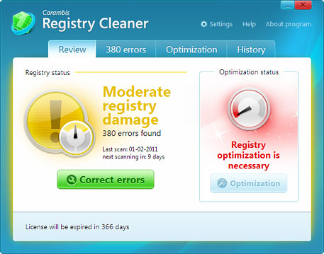 Carambis Registry Cleaner Screenshot 1