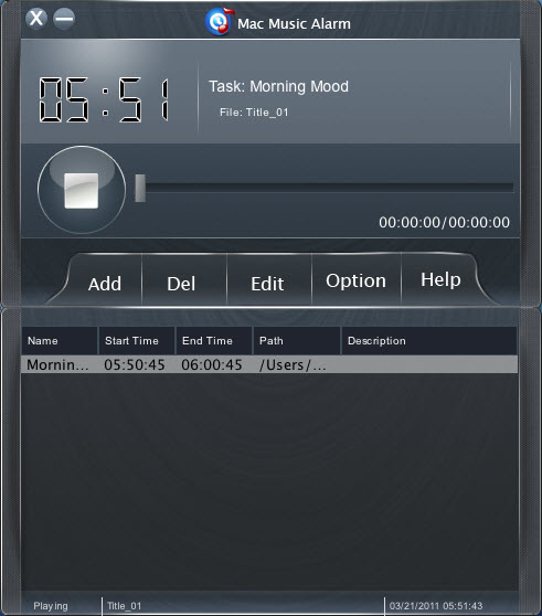 Mac Music Alarm Screenshot