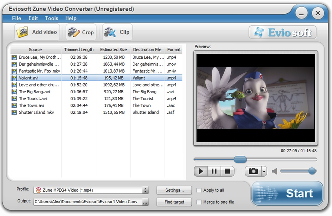 Eviosoft Zune Video Converter Screenshot 1