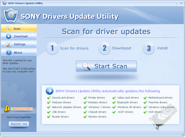 SONY Drivers Update Utility For Windows 7 64 bit Screenshot
