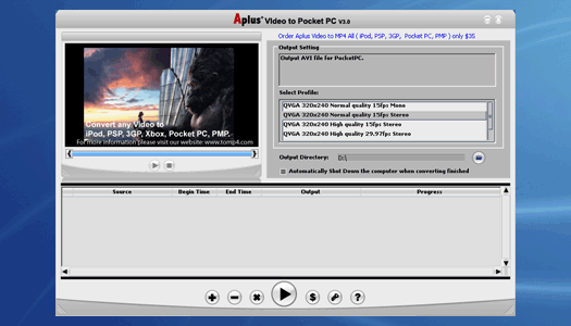 Aplus Video to Pocket PC Screenshot