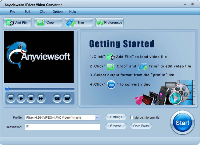 Anyviewsoft iRiver Video Converter Screenshot