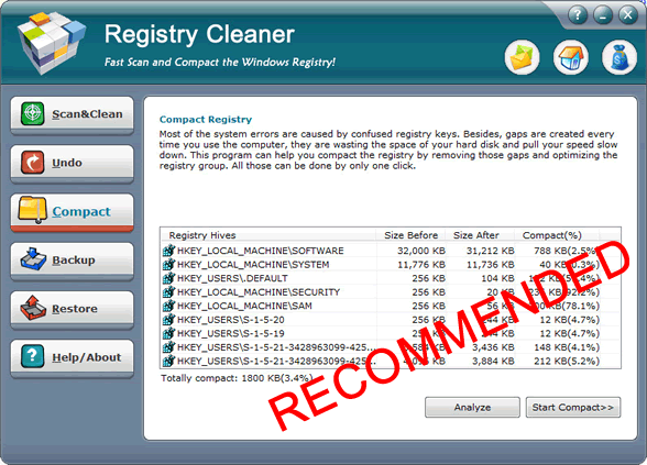 AthTek RegistryCleaner Screenshot